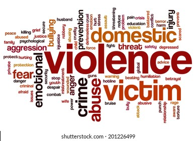 Violence concept word cloud background