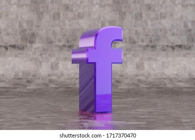 Violet 3d letter F lowercase. Glossy indigo letter on tile background. Metallic alphabet with studio light reflections. 3d rendered font character.