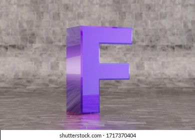 Violet 3d letter F uppercase. Glossy indigo letter on tile background. Metallic alphabet with studio light reflections. 3d rendered font character.