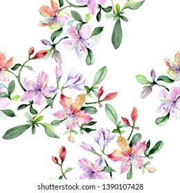 Violet alstroemeria bouquet flowers. Wild spring leaf wildflower. Watercolor illustration set. Watercolour drawing fashion aquarelle. Seamless background pattern. Fabric wallpaper print texture.