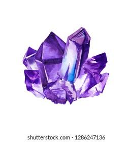 Violet amethyst gemstones (gem stone, crystal). Watercolor