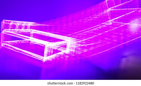 Violet background with pink neon light  motion. Concept of abstract illustration wallpaper for clubbing poster, futuristic style, colorful moment, technology in galaxy and geometric in space.