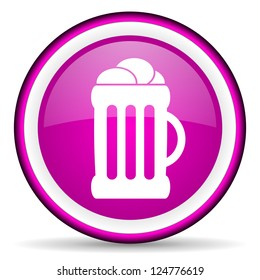 violet circle glossy web icon with pictogram on white background