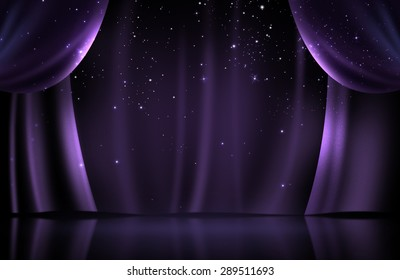 Violet curtain on stage with glittering stars