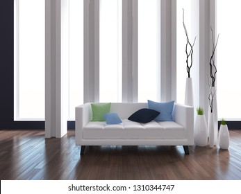 violet empty interior with a white sofa and  vases. 3d illustration