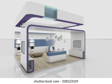 violet exhibition stand 3D Rendering