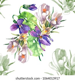 violet flowers and crocus flowera watercolor isolated on white background seamless pattern for fabrics, paper
