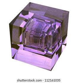 Violet glass hypercube 3d