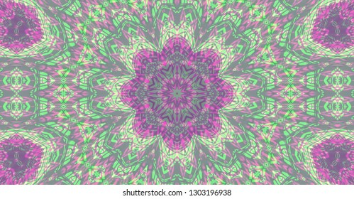 Violet and green digitally generated mandala for sahasrara and anahata chakras healing with tnin lines ornaments reminding prints on banknotes  designs