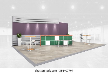 Violet and green Exhibition Stand 3d Rendering