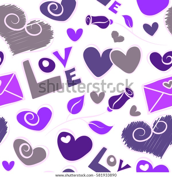 Violet hearts, love text and letter. Modern seamless pattern on white backdrop. Can be used for wallpaper, pattern fills, fabric, textile, gifts, wrapping paper, scrapbooking.