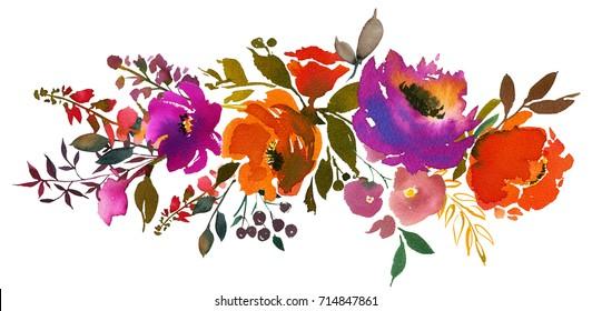 Violet Orange Watercolor Floral Bouquet Landscape Isolated.