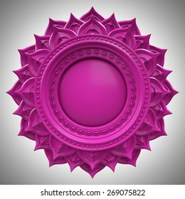 violet Sahasrara crown chakra base, 3d abstract symbol, isolated color design element