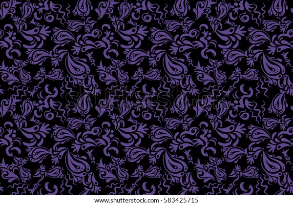 Violet seamless background flower ornament pattern. Abstract arabesque background for greeting card, presentation or wedding invitations. Traditional gothic damask background.
