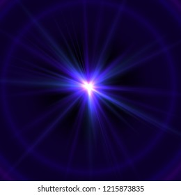Violet Searchlight Flare - Splendor with Rays and Halo - Abstract Shine Background