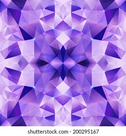 Violet shining crystal abstract triangles seamless pattern