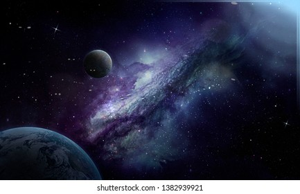 Violet space, planets and nebula