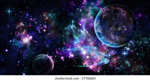 Violet space with two planets and bright nebula