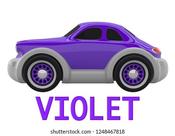Violet toy car and an inscription with the name of the color. Isolated on white background. 3D render