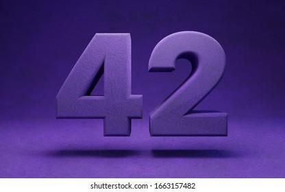Violet velvet number 42. Indigo color font character.. 3D rendering.