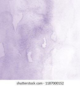 Violet watercolor ombre leaks and splashes texture on white watercolor paper background.