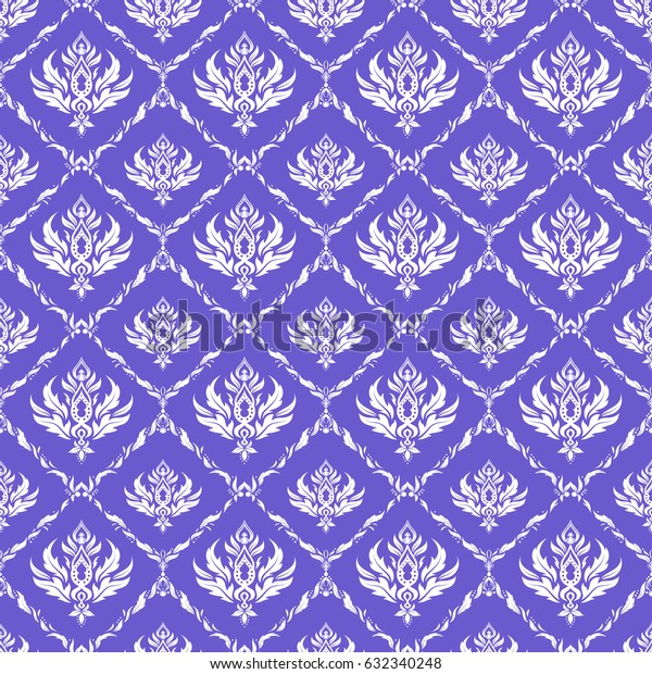 In violet and white colors. Ikat damask seamless pattern background tile.