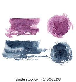 Violete and dark Blue Watercolor Spot. Creative Abstract Aquarelle art hand paint on isolated white Background. Color Drops, blots and Spray for your design.