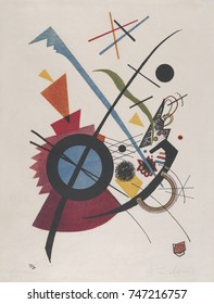 Violett, by Vasily Kandinsky, 1923, Russian French Expressionist print, lithograph. Geometrical elements, circles, arcs, triangles, straight lines and curves, mix with irregular hand drawn forms in th