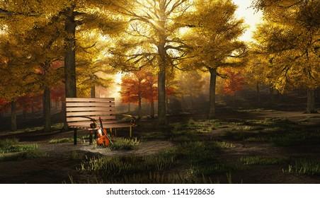 Violin in autumn park. Canvas. 3D rendering