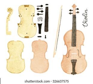 Violin and violin construction design. Hand-drawn music instrument. Real watercolor drawing.