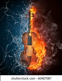 Violin in fire and water. Illustration of the violin enveloped in elements on black background. High resolution violin in fire and water image for a violin concert poster.