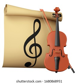 Violin in front of sheet with notes on white background 3d illustration