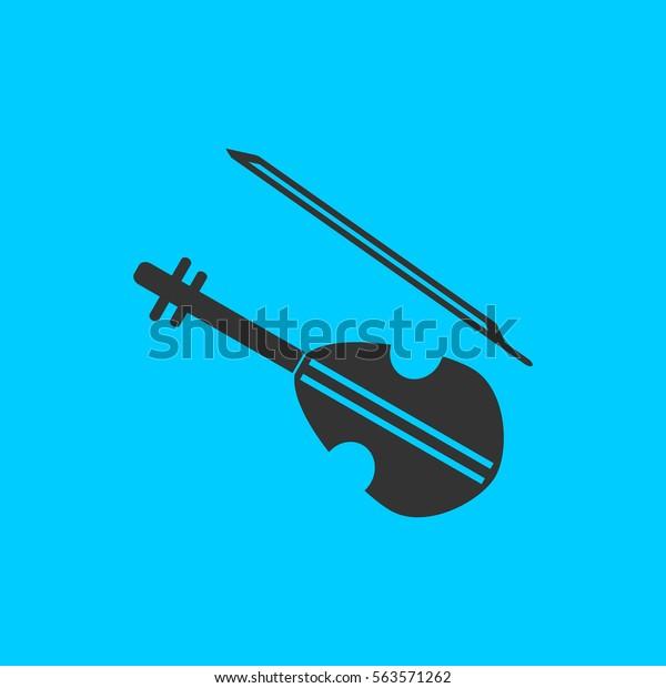 Violin Icon Flat Simple Black Symbol Stock Illustration