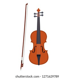 Violin icon. Illustration of brown violin with bow isolated on a white background. Stringed musical instrument
