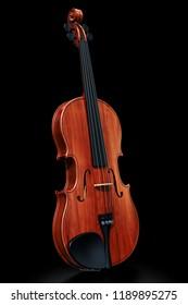 Violin on the black backdrop, 3D rendering