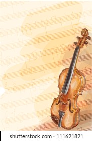 Violin on music background with handmade notes. Watercolor style. Raster version.