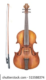 Violin. Watercolor illustration.