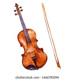 Violine. Music instrument watercolor illustration on white background