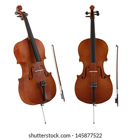 Violoncello isolated. Classical music instrument isolated. Two angles of view