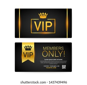 Vip club cards, Members Only Gold ribbon, label. Gold and luxury, membership icon, exclusive and priority. stock illustration.