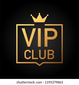Vip club label on Black background.  stock illustration.