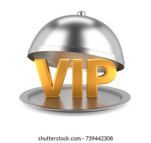VIP Concept with Restaurant Cloche and open Lid. 3D Illustration