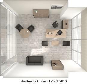 VIP office furniture top view 3D rendering