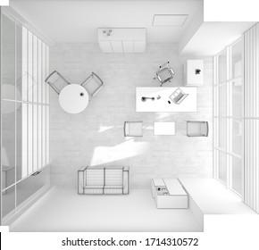 VIP office furniture top view grid 3D rendering