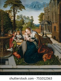 VIRGIN AND CHILD WITH ANGELS, by Bernard van Orley, 1518, Northern Renaissance oil painting. This work features a Madonna of Humility, with the Virgin depicted sitting on the ground, or a low cushion.