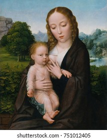 VIRGIN AND CHILD, by Simon Bening, 1520, Netherlandish, Northern Renaissance oil painting. This work presents Jesus and Mary not religious symbols, but as a human mother nursing her baby. A stream of
