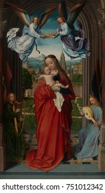 VIRGIN AND CHILD WITH FOUR ANGELS, by Gerard David, 1510-15, Northern Renaissance oil painting. The figures in an arched porch are flanked by columns against the backdrop of the city of Bruges. Gracef