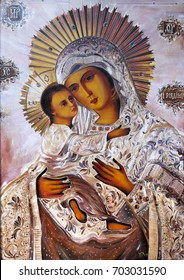 Virgin Mary with the baby Jesus. Icon, oil on canvas.