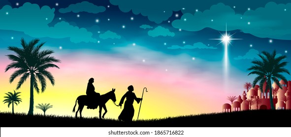 Virgin Mary and Joseph against the background of the Star of Bethlehem. Their journey. Desert, starry sky, city of Bethlehem. The biblical scene on the eve of the birth of Jesus. Christmas.
