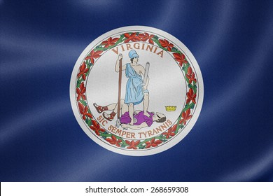 Virginia flag on the fabric texture background
